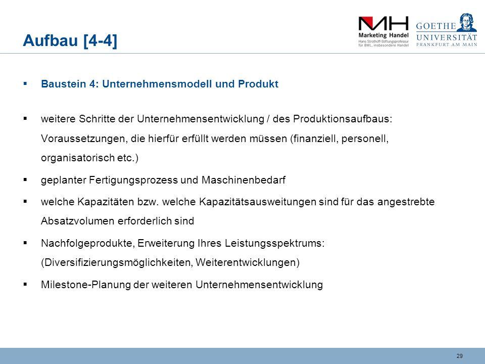 Aufbau [4-4] Baustein 4: Unternehmensmodell und Produkt